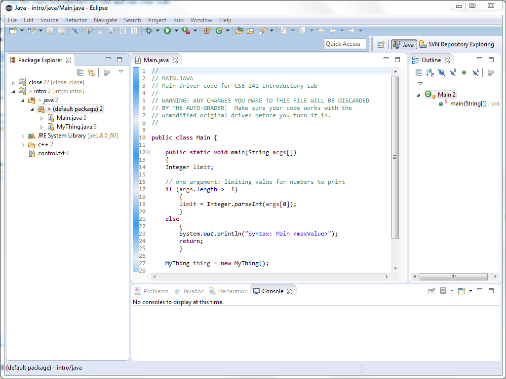Using Eclipse in CSE 241